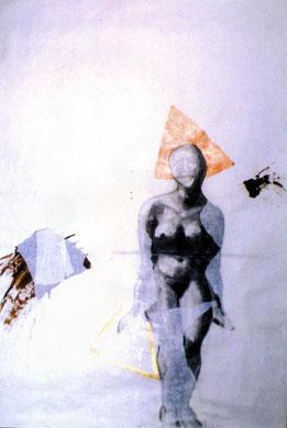 constructa romantika, 1996, carboncino/acrilico su carta, 160x100