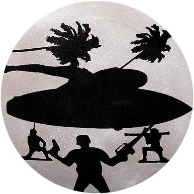 Laurent Gugli-Tankgirl one 40x40 cm stencil sur toile