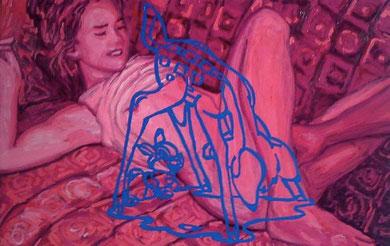 Laurent Gugli-Jenny Bambi 100x65 cm acrylique sur toile