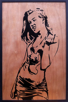 Laurent Gugli Crazy Girl Spray Paint CP 75x50 cm