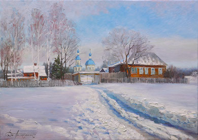 """В Царёвке зимой"" Х.,м. 70х100 2016 г."
