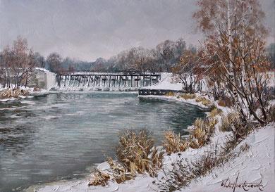 """Плотина"" Х.,м. 70х100 2018г."