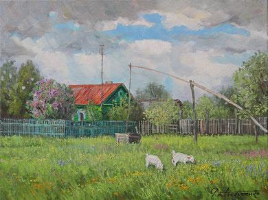 """367 """"Сельский пейзаж"""" Этюд Х.,м. 60х80  2016 г."""