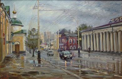 """В Тамбове дождь"" Этюд  х.,м. 50х80 2013г."