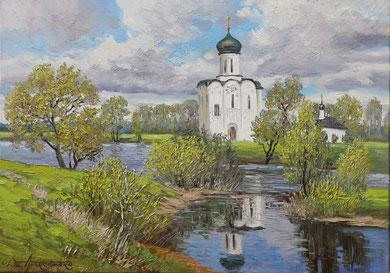 """"""" Покрова на Нерли"""" Х.,м. 50х70 2017 г."""