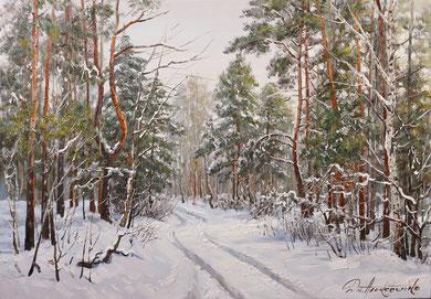 """""""Зимой в лесу"""" Х.,м. 70х100 2018г"""