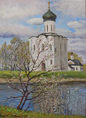 """""""Покрова на Нерли. Весенний цвет"""" Х.,м. 70х50 2017 г."""