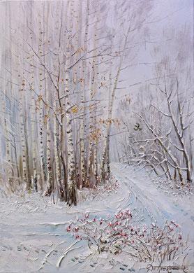 """""""Берёзовая роща зимой. Лыжня"""" Х.,м. 100х70 2016г."""
