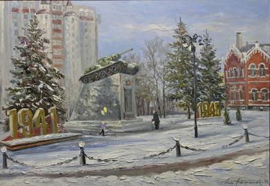 """348  """"Славный подвиг. Тамбовский колхозник"""" Х.,м. 70х100 2015 г."""