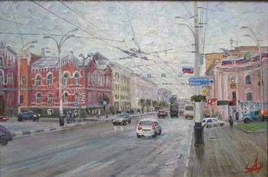 """На главной улице"" Этюд.  Х.,м.  40х60  2012 г."