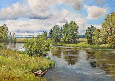 """""""У реки Лесной Тамбов"""" Х.,м.65х90 2017г."""