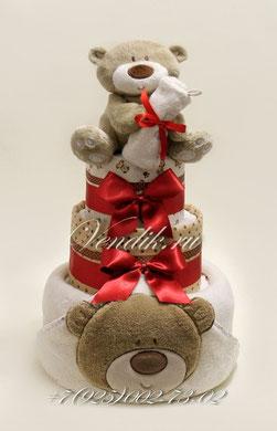 Торт из памперсов праздничный Медвежонок.