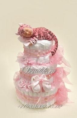 """Торт из памперсов """" Розовые сны """" (Малыш Тигрёнок) VIP"""