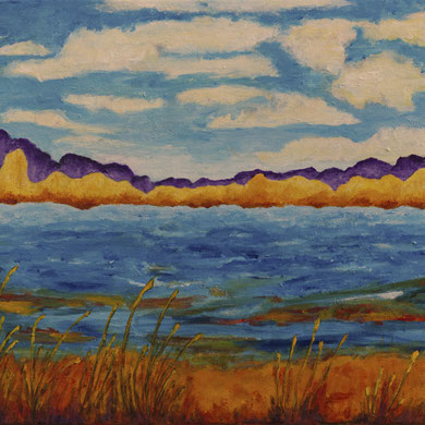 """""""At Water's Edge""""  14x18 framed acrylic on canvas $195"""