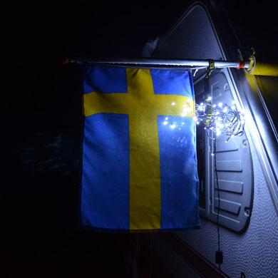 Schwedenfahne...mit Beleuchtung.....