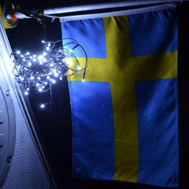 Svenskt flagga...med belysningen...