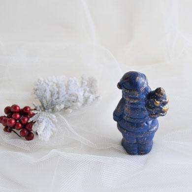 Nikolaus stehend mit Tannenbaum blau-gold