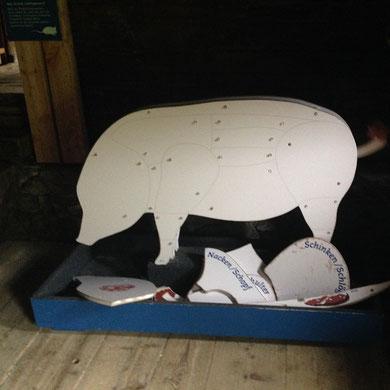 Hier wird das Schwein zerlegt ...