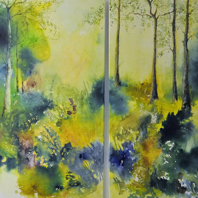Sommerwald, Aquarell auf Leinwand, 50x100 und 60x100 cm, Beatrice Ganz