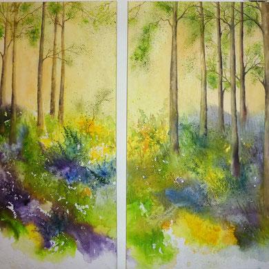Frühlingswald, Aquarell auf Leinwand, 50x100 und 60x100 cm, Beatrice Ganz
