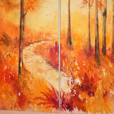 Herbstwald, Aquarell auf Leinwand, 50x100 und 60x100 cm, Beatrice Ganz