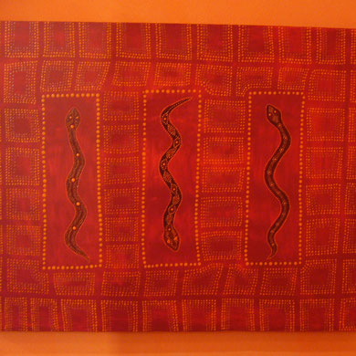 red snakes  60 x 80 cm                                          sold
