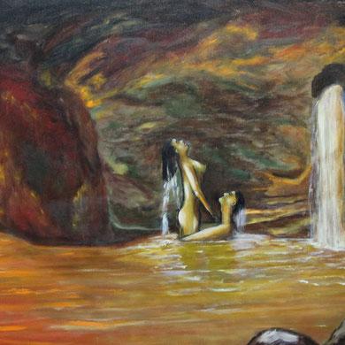 Badefreuden 50 x 60 cm, Öl auf Leinwand
