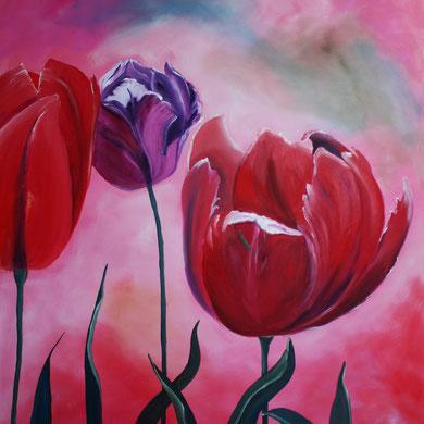 Tulpen, Öl auf Leinwand, 80 x 100 cm.
