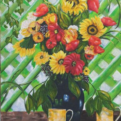 Am Gartenzaun, 60 x 80 cm, Öl auf Leinwand