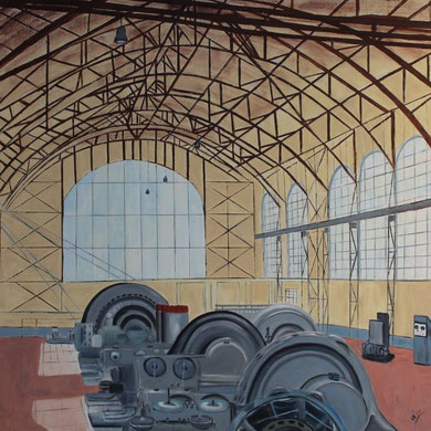 Maschinenhalle der Zeche Zollern, Öl auf Leinwand 100 x 100 cm.