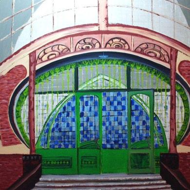 Historisches Tor der Zeche Zollern in Dortmund, Öl auf Leinwand 100 x 100 cm.