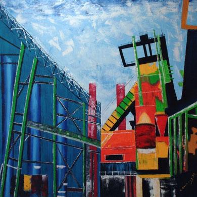 Hoesch in Dortmund, 100 x 100 cm. Öl auf Leinwand