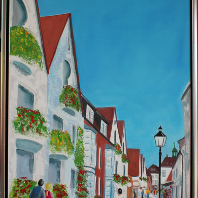 Schlossgang Husum 50 x 70 cm. Öl auf Leinwand.