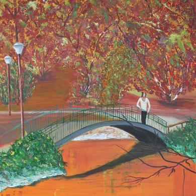 Herbst im Rombergpark in Dortmund 80 x 100 cm. Öl auf Leinwand