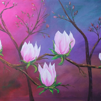 Magnolien, 80 x 120 cm, Öl auf Leinwand,