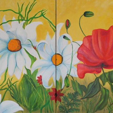 Blumenwiese, 80 x 80 cm, Öl auf Leinwand Diptychon