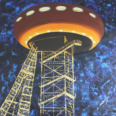 Colani-Ei, So heißt das Forschungszentrum in Lünen, was Colani entworfen hat, Es steht auf einem Zechengerüst 80 x 80 cm.