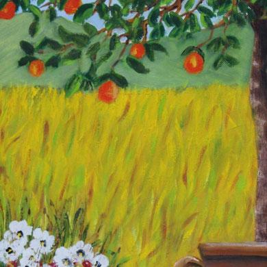 Auf der Terrasse, 24 x 30, Öl auf Leinwand