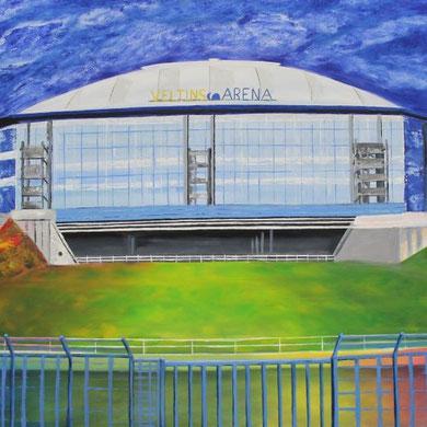 Auf Schalke !!, Veltins-Arena in Gelsenkirchen, 80 x 120 cm. Öl auf Leinwand