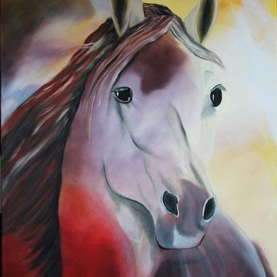 Pferdeportrait, 80 x 100 cm. Öl auf Leinwand