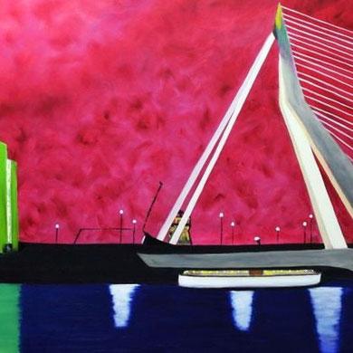 Erasmusbrug in Rotterdam, 100 x 120 cm. Öl auf Leinwand.