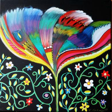 Blumengarten 3, 50 x 50 cm, Öl auf Leinwand