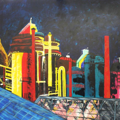 Industriekultur, 100 x 100 cm, Öl auf Leinwand.