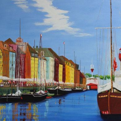Alter Hafen in Kopenhagen, 80 x 100 cm. Öl auf Leinwand