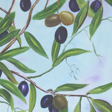Olivenzweig, 30 x 40 Öl auf Leinwand,