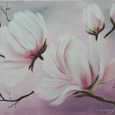 Magnolien, 30 x 40 cm, Öl auf Leinwand,