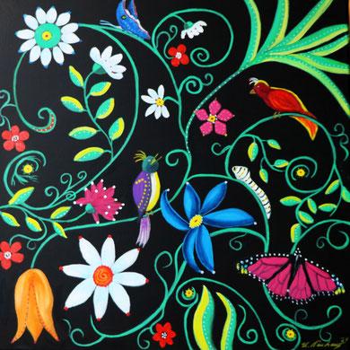 Blumengarten 1, 50 x 50 cm, Öl auf Leinwand