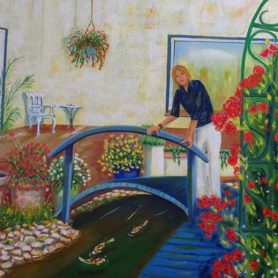 Im Garten 80 x 100 cm. Öl auf Leinwand