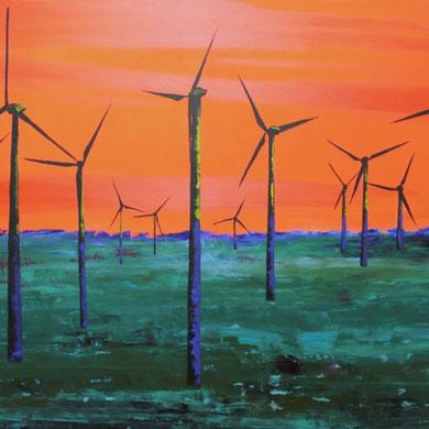 Windenergie, 100 x 120 cm, Öl auf Leinwand