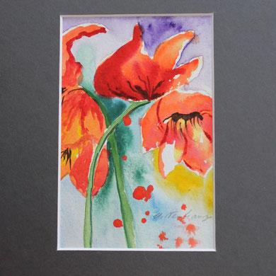 Buntes Blumenbild mit Passepartout,